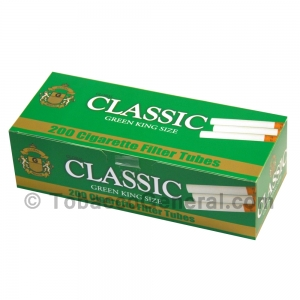 Global Classic Filter Tubes King Size Green (Menthol) 5 Cartons of 200
