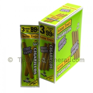 Good Times Cigarillos White Grape 3 for 99 Cents Pre Priced 15 Packs of 3
