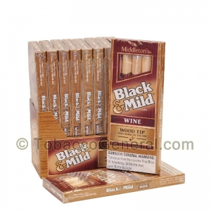 Middleton's Black & Mild Wood Tip Wine Cigars 10 Packs of 5