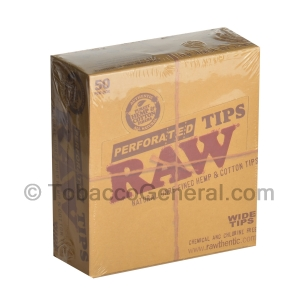 RAW Hemp & Cotton Wide Perforated FIlter Tips Pack of 50