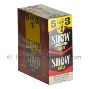 Show Cigarillos Sweet Pre Priced 15 Packs of 5