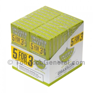 Swisher Sweets White Grape Cigarillos B3G5 Pre-Priced 20 Packs of 5